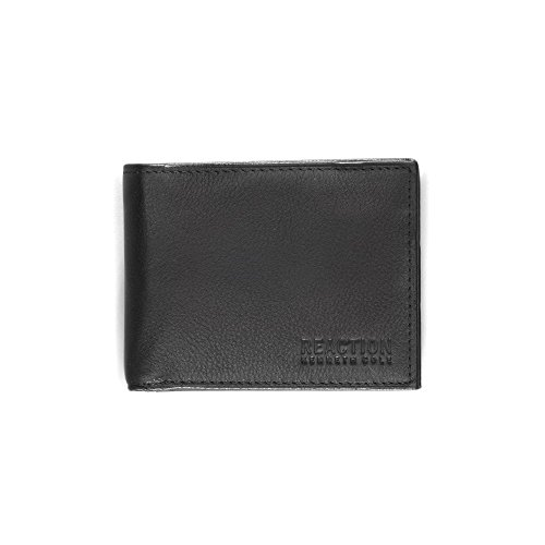 Kenneth Cole REACTION Men's Passcase Wallet,Black with Money Clip