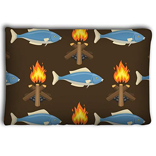 Dengtashi Pillow Cases fire Bonfire Seamless Pattern Vector Burn Flame Illustration Fish spurts Flame red Orange Background Wallpaper hot fire Bonfire 2030inch