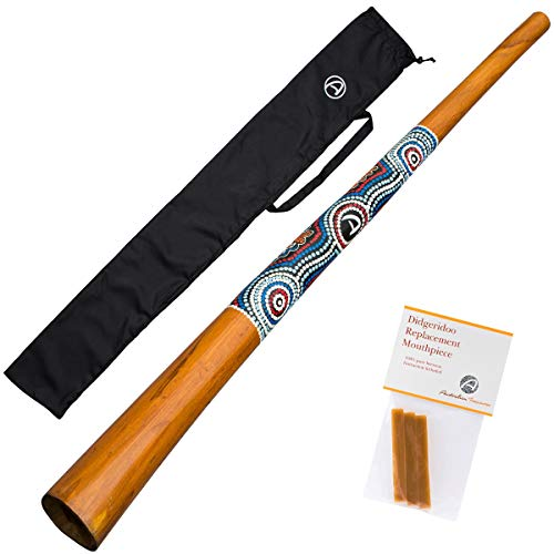 Teakwood didgeridoo - good counter pressure, similar sound to eucalyptus instruments, painted finish. This is a good sounding and looking instrument. It's made of very strong teakwood with nice paintings. Every didgeridoo is hand painted. If you orde...