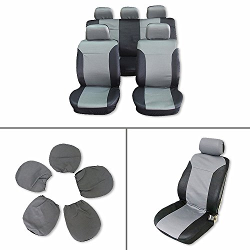 Car Seat Cover,Stretchy Universal Seat Cushion w/Headrest 100% Breathable Automotive Accessories with Durable Washable Embossed cloth for Most Cars Trucks Vans(Black/Gray)