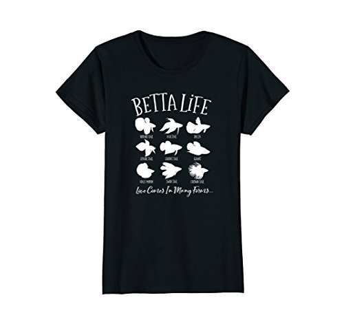 Womens Betta Life Fish T-Shirt Pet Owner Aquarium Fish Keeping (Betta Fish T Shirt)