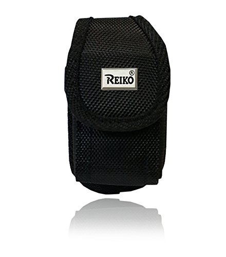 Flip Phone Pouch Case (Reiko Vertical Canvas Case, Small Rugged Pouch Holster Nylon Metal Clip Flip Phone Belt Case Fits MOST FLIP PHONES (Black))
