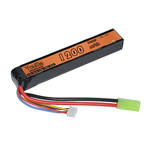 Youme 3S Lipo Battery 1200mAh 11.1v LiPo Stick Battery 25C with Mini Tamiya Connector for Airsoft Tamiya - AK Type