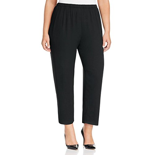 Pleated Womens Slacks - Eileen Fisher Womens Plus Crepe Pleated Ankle Pants Black 3X