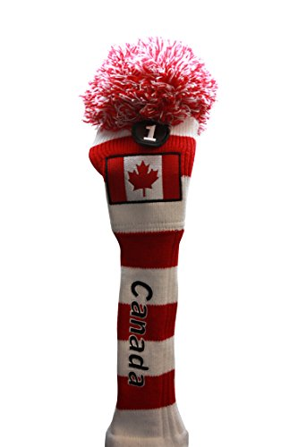 Majek Canada Golf Driver Retro Classic Old School Vintage Throwback Pom Pom Knit Head Cover #1 Canadian Red White Flag Drivers Headcover
