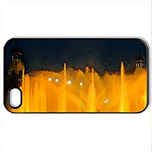 Beautiful Fountain - Case Cover for iPhone 4 and 4s (Watercolor style, Black) by lolosakes