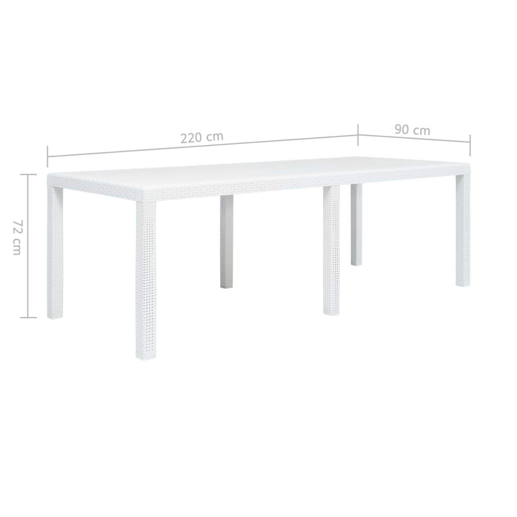 vidaXL Table de Jardin Blanc 220x90x72 cm Plastique Aspect ...