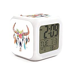 Cute Multifunction Desk Alarm Clock Cow Skull Watercolor Digital Alarm Clock with Nightlight 7 Color Changing Light Bedside Clock for Bedroom.Sleep Timer with Thermometer,Touch Control and Snoozing