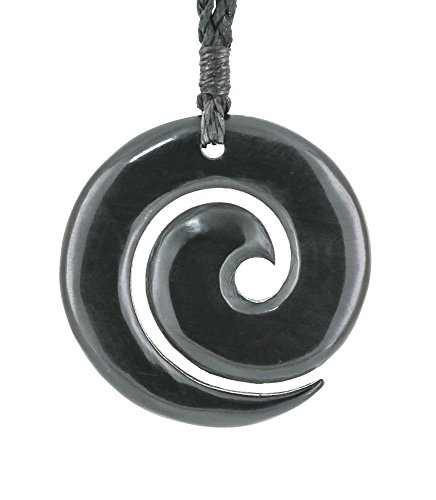 Earthbound Pacific New Zealand Maori Hand Carved Black Horn Open Koru Pendant Necklace