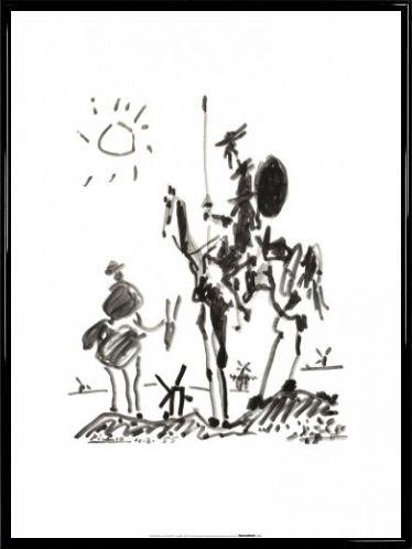 Pablo Picasso Poster Kunstdruck und Kunststoff-Rahmen - Don Quijote, 1955 (80 x 60cm)