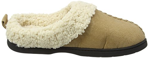 Dearfoams Microsuede Clog With Whipstitch And Memory Foam - Zapatillas bajas para mujer Beige (Desert 00288)