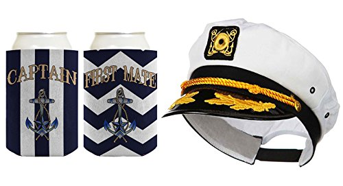 Captain Hat Yacht Cap Funny Coolie Captain and First Mate Chevron Can Coolie Bundle Chevron Navy