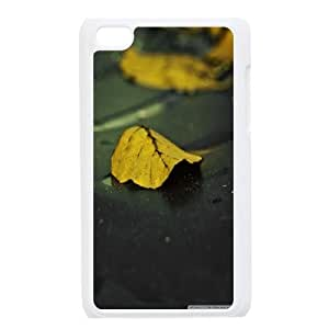 Leaf & Leaves Series, Ipod Touch 4 Cases, Yellow Leaves on Wet Asphalt Cases for Ipod Touch 4 [White]