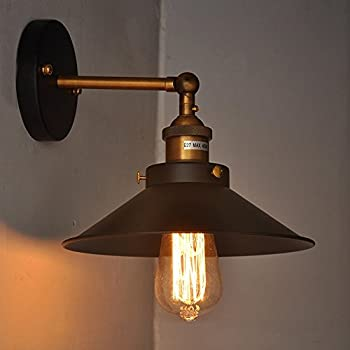 Adjustable Wall Sconce By Kshioe Industrial Edison Vintage Light Antique Retro Lamp E27 With Swing ArmBlack Metal