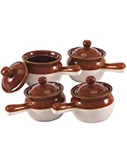 Individual French Onion Soup Crock Chili Bowls with Handles and Lids, Ceramic LARGE 20 Ounces 4 Pack (BROWN CREAM)