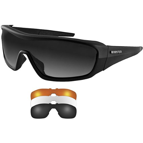 Bobster Enforcer Adult Interchangeable Sports Sunglasses/Eyewear - Matte Black/Smoked, Amber, Clear / One Size Fits All