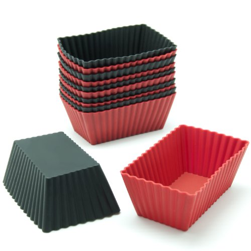 - Freshware CB-308RB 12-Pack Silicone Mini Rectangle Reusable Cupcake and Muffin Baking Cup, Black and Red Colors