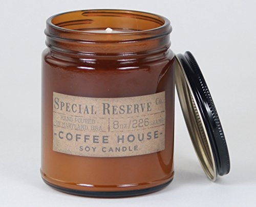 Coffee House Scented Soy Wax Candle - Rustic Amber Jar with Lid - 8 - Bean Coffee Candle
