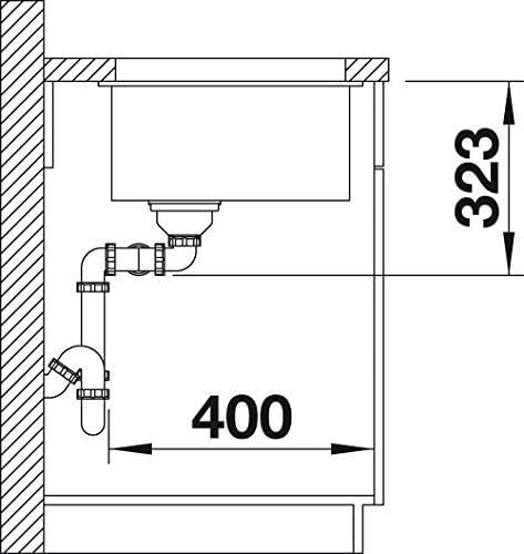 SILGRANIT BLANCO SUBLINE 350//350-U 523578 /Évier de Cuisine Double Sous Plan pour Meubles Bas de 80 cm de Large Blanc