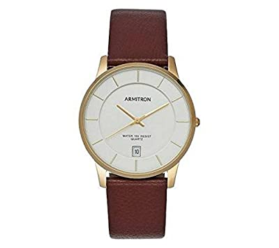 Armitron Men's Brown Leather Day And Date Watch
