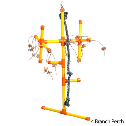 Zoo Max DUST2015 Hanging Perch 4 Branches Small 32 x 14in Bird Toy, My Pet Supplies