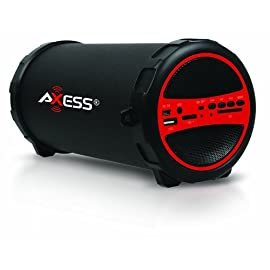 Axess Portable Bluetooth Indoor/Outdoor Cylinder Loud Speaker 1 Secure simple pairing for user- friendly operating Comes with USB and SD card support as well as a Line-In function: Suitable for PC, MID, TV and other audio devices Side control panel for volume