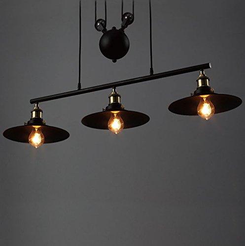 BAYCHEER Industrielampe Haengeleuchte Retro Industrie Lampe Schwarz Kueche Vintage Deckenleuchte 3 Lampenschirme Hhenverstellbar Fr Wohnzimmer Esszimmer