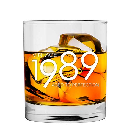 1989 30th Birthday Gifts for Men and Women Whiskey Glass | Bourbon Scotch Glasses 30th Bday Gift Ideas for Him Her Dad Mom Husband Wife | 11 oz Whisky Old -
