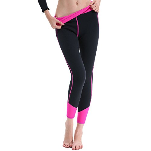 GoldFin Women's Wetsuit Pants 2mm Neoprene Shorts, Keep Warm for Diving Snokeling Swimming Surfing Scuba Pants with Pocket, BS001 (Black+Fuchsia, - Skin Surf Pant
