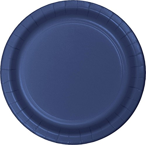 24-Count Touch of Color Round Paper Dinner Plates, Navy Blue