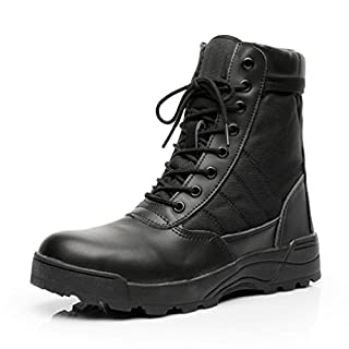 KARKEIN Military Tactical Side Zipper Lace Up Combat Boots Breathable Desert Outdoor Hiking Shoes for Men and Women Black