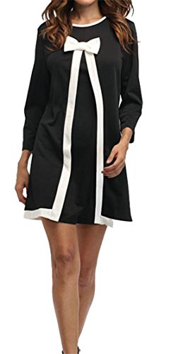 Sleeve Dresses Women Midi Two Long Bowkont line Cromoncent Crewneck Casual Black A Fake RPEqgwd