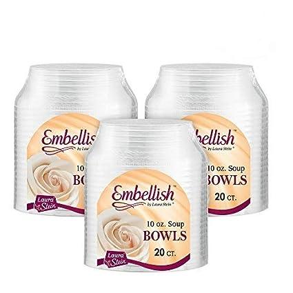 Amazon Com Embellish Hard Plastic 10 Ounce Clear Bowls 20 Count
