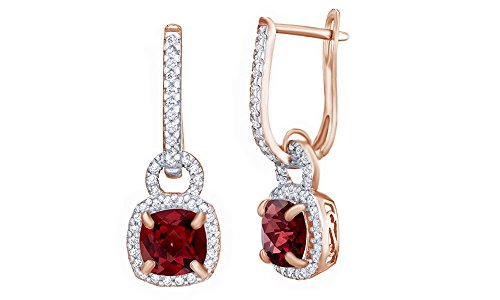 7.0mm Cushion Cut Red Simulated Garnet & White Topaz CZ Frame Drop Earrings in 925 Sterling Silver -