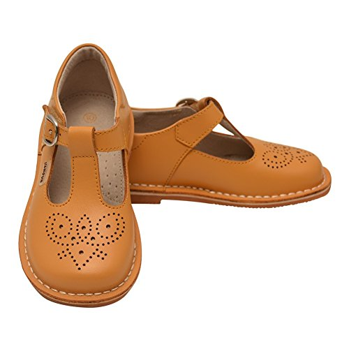 L'Amour Little Girls Mustard T-Strap Perforated Leather Shoes 7 Toddler