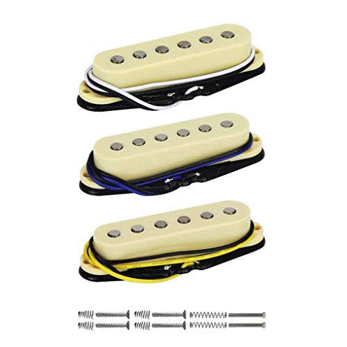 FLEOR Alnico 5 Strat Pickup Single Coil Pickups Guitar Neck/Middle/Bridge Pickup Cream for Strat Squier Electric Guitar