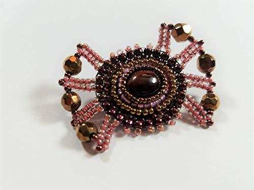 - Red Tiger Eye Gemstone Brooch