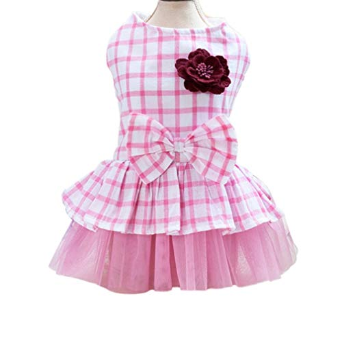 LVYING Bow Plaid Lace Princess Tutu Ballet Dress Puppy Party Skirt Pet Dogs Cats Summer Small Clothes ()