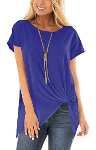 Viishow Women's Casual Short Sleeve Solid T Shirts Twist Knot Tunics Tops Blouses Royal Blue -