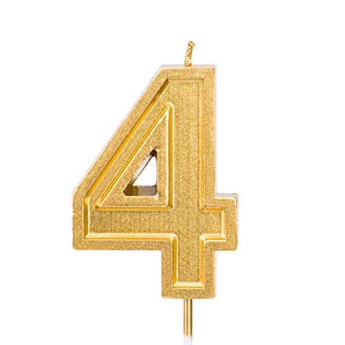 - LUTER 2.76 Inches Large Birthday Candles Gold Glitter Birthday Cake Candles Number Candles Cake Topper Decoration for Wedding Party Kids Adults, Number 4