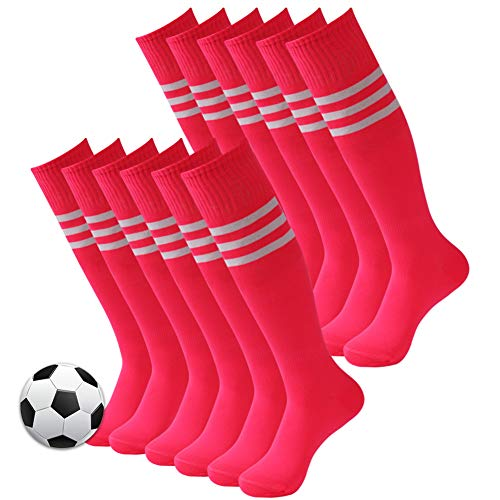 10 Pairs 3street Triple Tube Athletic Hot Pink Soccer 12 Stripes 6 Pairs Unisex 2 Calcetines Rising 04 BxBwvzT