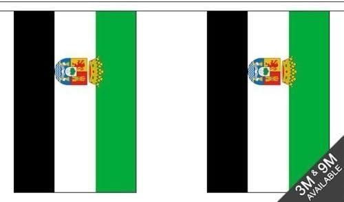 ESPAÑA EXTREMADURA - 9 metros de largo, 30 Bandera Banderín + 59mm Botón Insignia: Amazon.es: Jardín