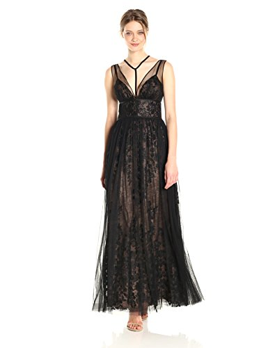 (Vera Wang Women's Sleeveless Vneck Lace Gown with Overlay and Tie Neck Detail, Black/Nude, 2)