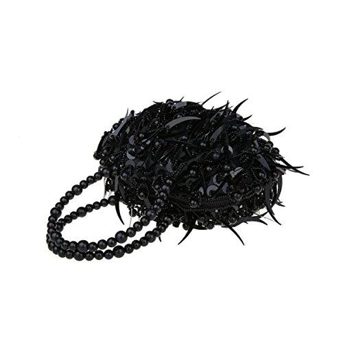 Mini Rebordeado Lentejuelas Bolso De Mano Manera Bolso De Tarde Vestido Bolso Del Banquete Cheongsam Novia Bolso De Mano Black