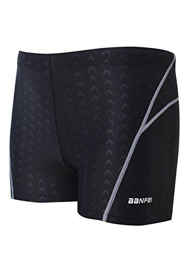 EASEA Men`s Quick Dry Compression Square Leg Swimsuit 4X-Large Black(Grey - Bikini Triathlon