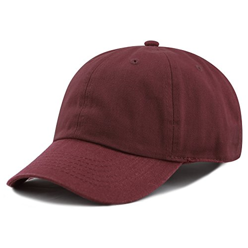 The Hat Depot Kids Washed Low Profile Cotton and Denim Plain Baseball Cap Hat (6-9yrs, Burgundy)
