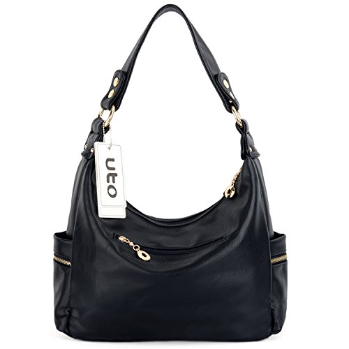 Hobo Multi PU Black Shoulder Style Bag Pocktets Purse Leather Women UTO Handbag w0XqEXA
