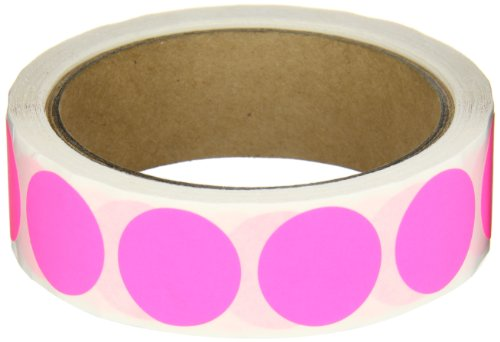 Aviditi DL611K Circle Inventory Color Coded Label, 1'' Diameter, Fluorescent Pink (Roll of 500) by Aviditi