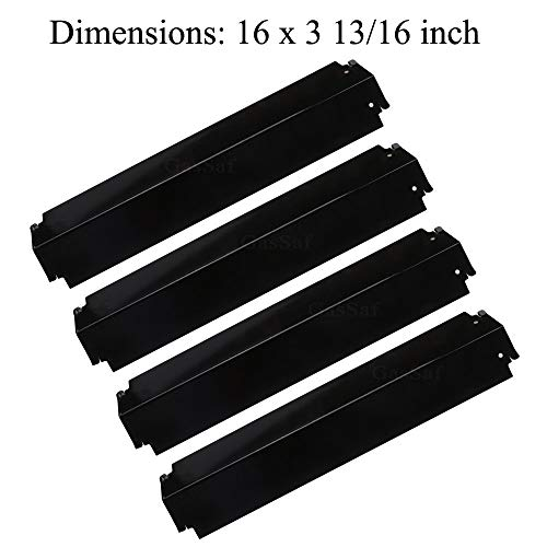 GasSaf 16 inch Grill Heat Plate Replacement forCharbroil Parts 463268008, 463268606 & Kenmore Thermos 461262006,Porcelain Steel Heat Plate Shield Flame Tamer Burner Cover(4-pack)(16 x 3 13/16)