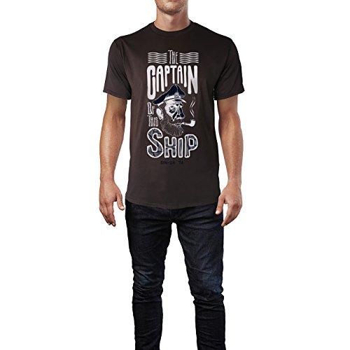 SINUS ART ® The Captain Of This Ship Herren T-Shirts in Schokolade braun Fun Shirt mit tollen Aufdruck